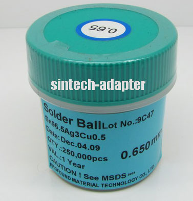 0.65mm 250K pcs BGA Solder Ball Lead-Free