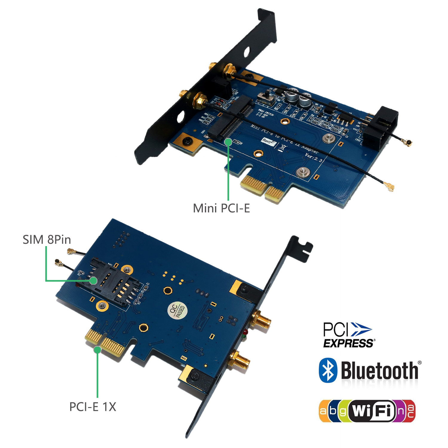 Half to Full Size Adapter for mSATA SSD and Mini PCI-E 3G/4G, WW