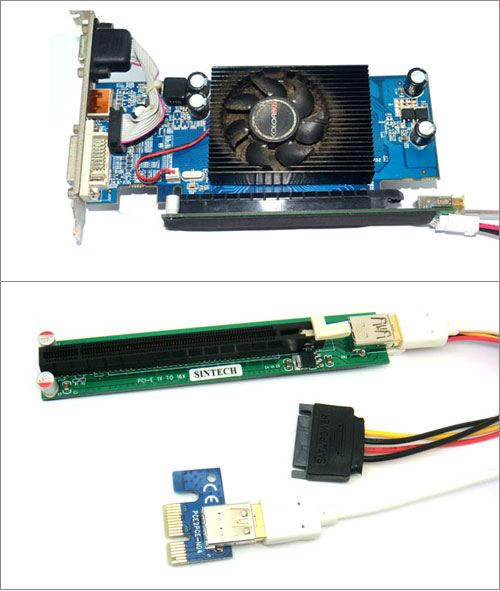 PCI-e express 1X to 1X/16x Riser Extender Card with extra power