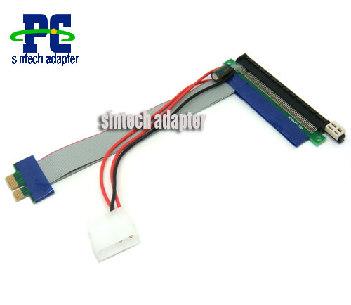 PCI-e express 1X to 1/16x Riser Extender Card with molex power