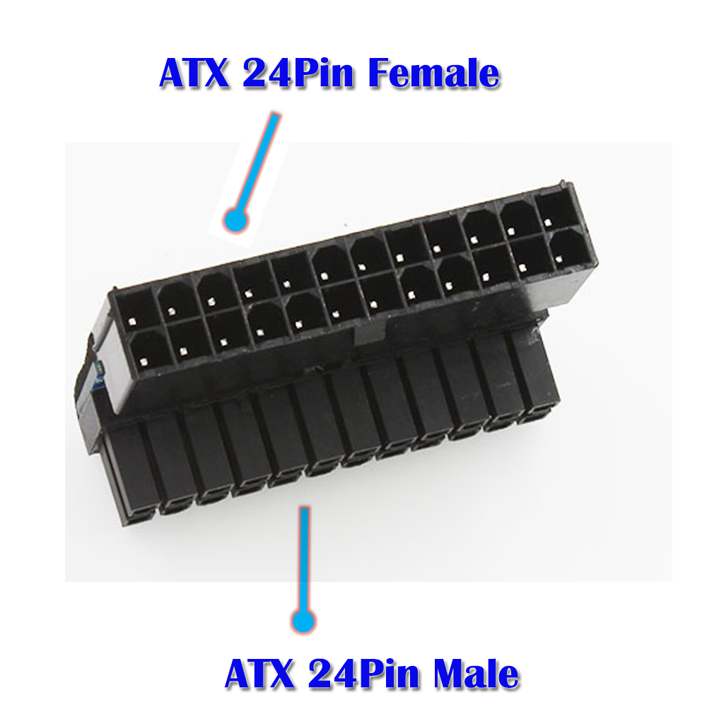 ATX 24Pin female to male angle adapter