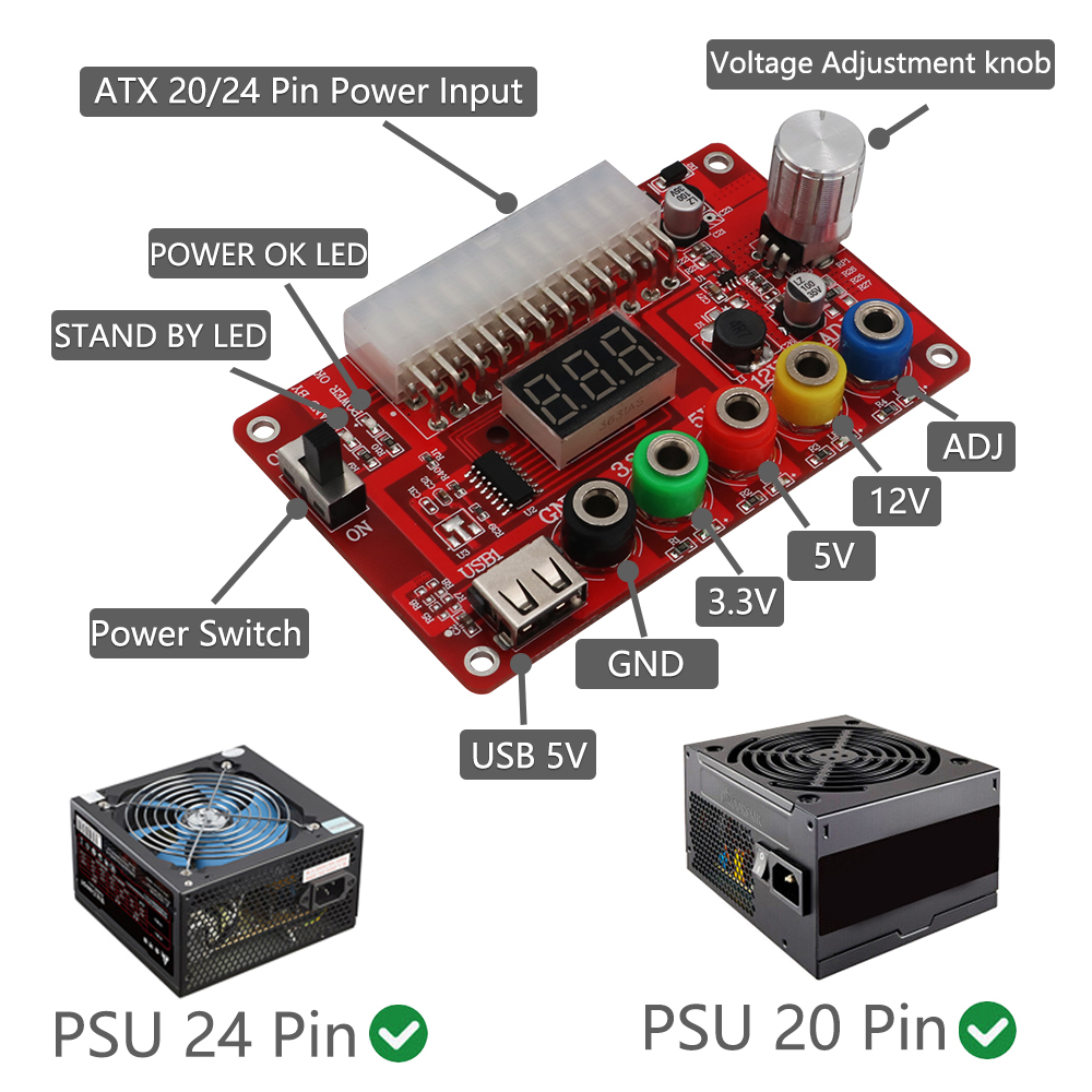 ATX Power Supply Breakout Board with ADJ Adjustable Voltage Knob