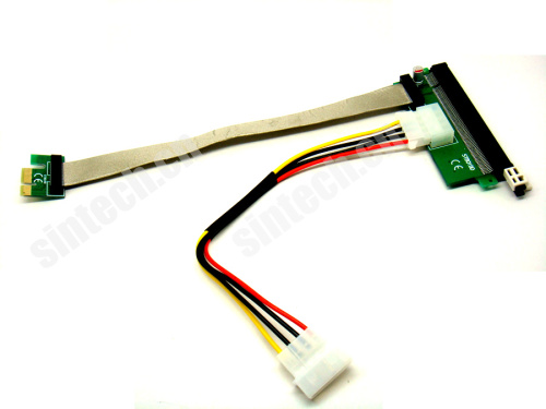 PCI-e 1X to 16x Riser Card 30cms+molex power cable for bitcoin m