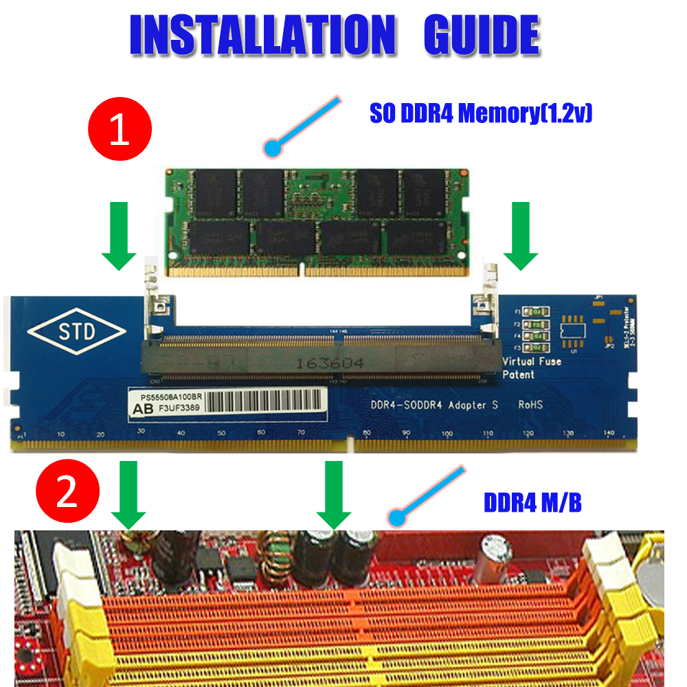Laptop DDR4 SO-DIMM to Desktop DIMM Memory RAM Adapter - Click Image to Close