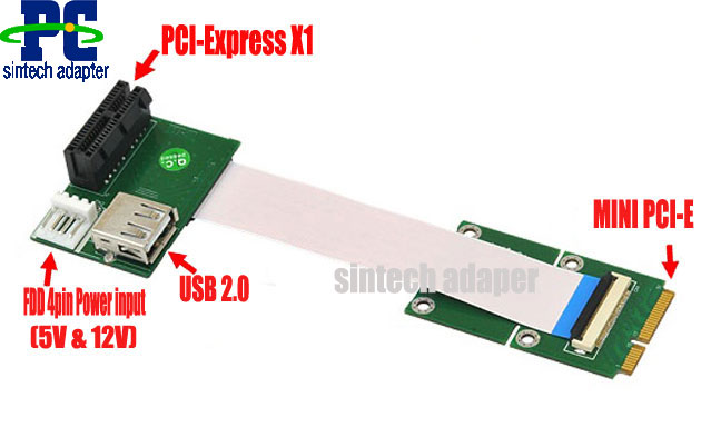 PCI-E express X1/UB to Mini PCI-E Adapter card+FPC cable