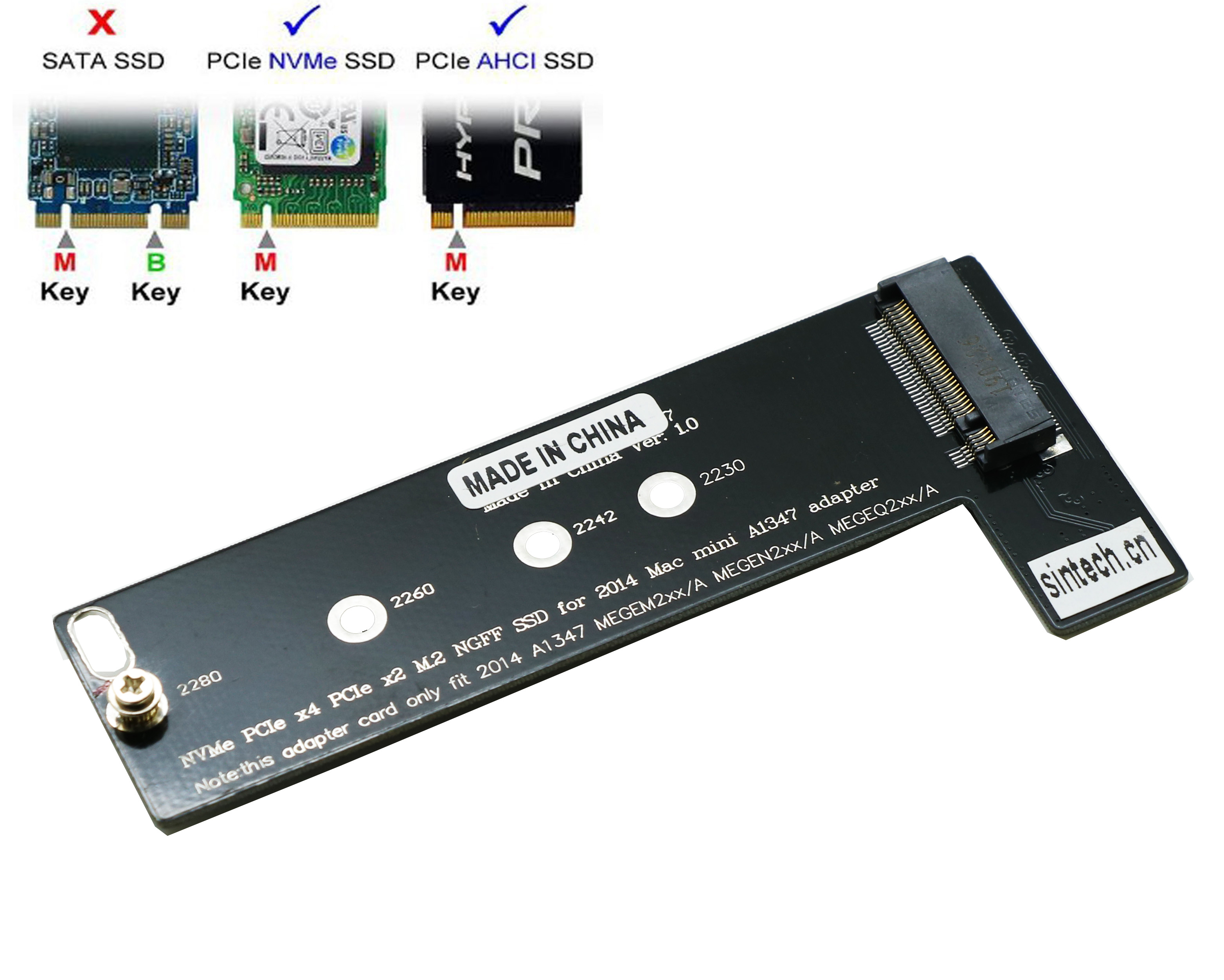 M.2 NGFF NVMe SSD Card For Mac Mini 2014 A1347 MEG Series