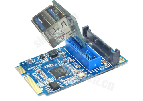 Mini PCI-e to dual USB 3.0 port adapter card+20Pin header conver