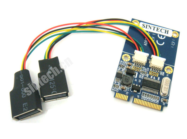 Mini PCIe to dual USB Adapter