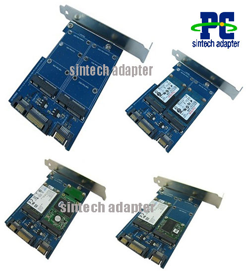 Dual mini PCIe mSATA SSD to SATA 22pin adapter card