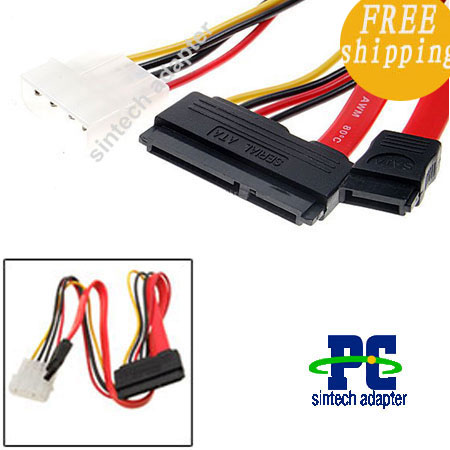 Serial ATA SATA 22-Pin female to 7 pin Data IDE Power Cable(50cm