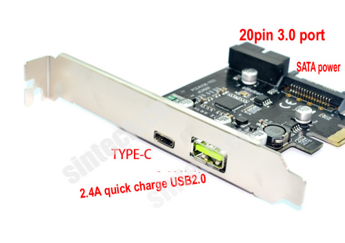PCI-e to USB 3.1 Type-c +USB Fast Charger 2A + 19PIN USB 3.0 ada