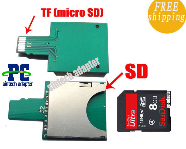 SDHC/SD card to micro SD TF extender adapter card for mobile pho
