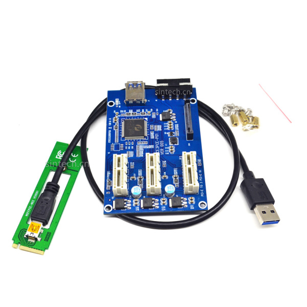M2 NGFF PCIe 3port 1X multiplier riser cable diy bitcoin miner