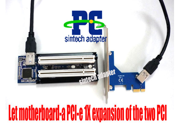 PCI-E express X1 to dual PCI riser card with USB3.0 cable