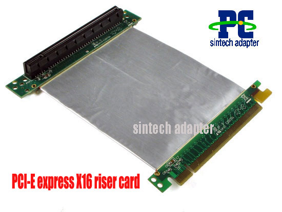 PCI-E express X16 riser card 1 slot with silver flex cable