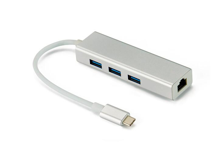 USB-C 3.1 to USB 3.0 Hub Ethernet Lan RJ45 Network Adapter