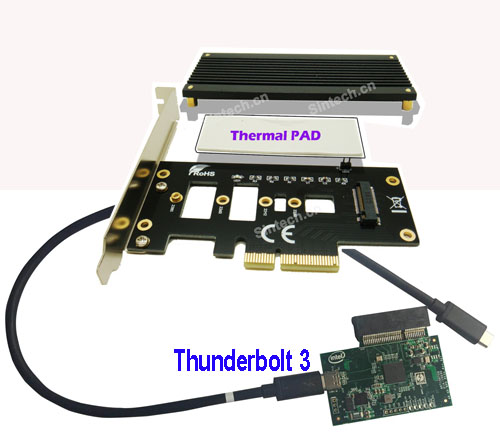 Thunderbolt 3 External M2 PCIe 4X card for M-Key nVME SSD