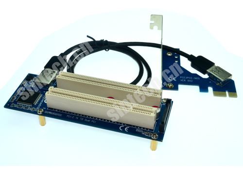 PCI-E express X1 to dual PCI riser extender card +USB3.0 cable