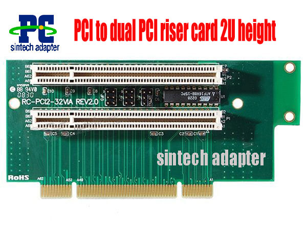PCI to dual PCI riser card 2U height