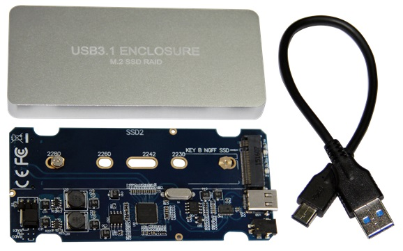 Dual M.2 NGFF SSD to USB 3.1 Type-C RAID 0/1 adapter with Extern